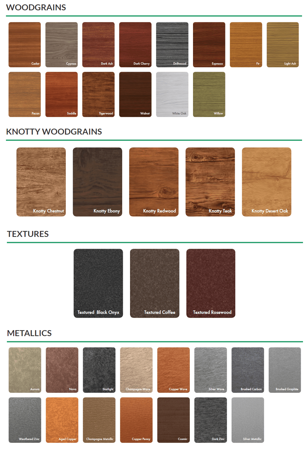 Lux Panel Siding Colours