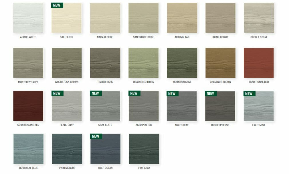Colour palette for James Hardie Siding in Vancouver, BC